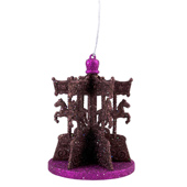 "3.75""X4.75"" Glitter Carousel Decoration - Piece (Fuchsia/Brown)"