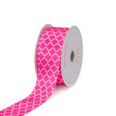 "1 1/2"" Satin Geometric Printed Ribbon - 10 Yards (Hot Pink)"