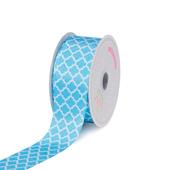 "1 1/2"" Satin Geometric Printed Ribbon - 10 Yards (Blue)"