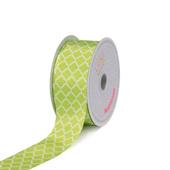 "1 1/2"" Satin Geometric Printed Ribbon - 10 Yards (Apple Green)"