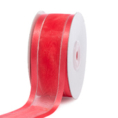 "1 1/2"" Organza with Satin & Silver Edge Ribbon - 25 Yards (Coral)"