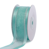 "1 1/2"" Organza with Satin & Silver Edge Ribbon - 25 Yards (Aqua)"