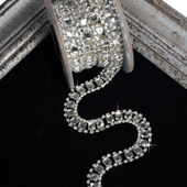 7mm Fancy Square Glass Chain - 5 Yards (Silver)