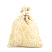 "4""x5"" Faux Burlap Lace Pouches - Sold by a Dozen Pieces ( 6 Pieces/Inner Pack) (Ivory)"