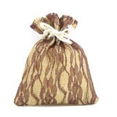 "4""x5"" Faux Burlap Lace Pouches - Sold by a Dozen Pieces ( 6 Pieces/Inner Pack) (Brown)"