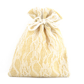 "5""x6.5"" Faux Burlap Lace Pouches - Sold by a Dozen Pieces ( 6 Pieces/Inner Pack) (Ivory)"