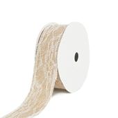 "1 1/2"" Faux Burlap Lace Ribbon -10 Yards (Ivory)"