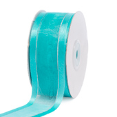 "1 1/2"" Organza with Satin & Silver Edge Ribbon - 25 Yards (Tropic Blue)"