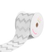 "2 1/2"" Canvas Laser Chevron Ribbons  - 10 Yards (White)"