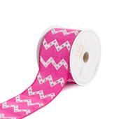 "2 1/2"" Canvas Laser Chevron Ribbons  - 10 Yards (Hot Pink)"