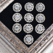"1"" Starburst Glass Buttons -10 Pieces Per Pack (Clear)"