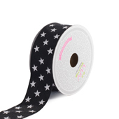 "1 1/2"" Grosgrain Cosmic Star Ribbon - 10 Yards (Black)"