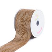 "2 1/2"" Canvas Wood Print Ribbon - 10 Yards (Toffee)"