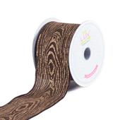 """2 1/2"""" Canvas Wood Print Ribbon - 10 Yards (Brown)"""