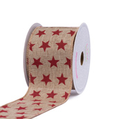 """2 1/2"""" CANVAS STAR RIBBON-10 YDS (Red)"""