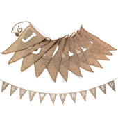 """12PCS BURLAP PENNANT BANNER """"JUST MARRIED"""" SMALL (Natural)"""