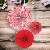 "8""DOTS,12""SOLID,15""SPIRAL PAPER FAN-3 PCS/SET (Red)"