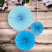 "8""DOTS,12""SOLID,15""SPIRAL PAPER FAN-3 PCS/SET (Turquoise)"
