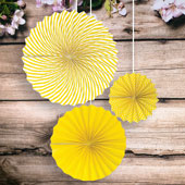 "8""DOTS,12""SOLID,15""SPIRAL PAPER FAN-3 PCS/SET (Canary)"
