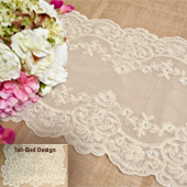 """14""""X72"""" CLASSY LACE TABLE RUNNER W/FAUX DIAMOND-PC (Ivory)"""