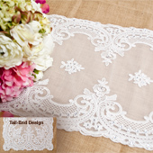 """14""""X72"""" COUTURE LACE TABLE RUNNER W/FAUX DIAMOND-PC (White)"""