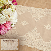 """14""""X72"""" COUTURE LACE TABLE RUNNER W/FAUX DIAMOND-PC (Ivory)"""