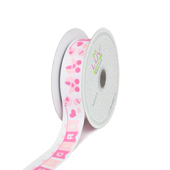 "7/8"" GROSGRAIN ""IT'S A BOY/GIRL"" FLAG RIBBON-10 YDS (Pink)"
