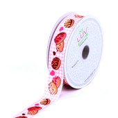 "7/8"" CHECKERED GROSRAIN YUMMY DONUTS-10 YDS (Pink)"
