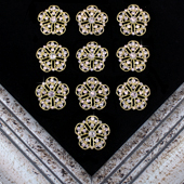 "1 1/4"" VINTAGE FLORAL RHINESTONE ACCESSORIES-10 PCS (Gold)"