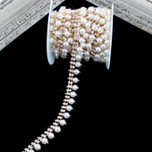 """3/4"""" TWO ROWS RHINESTONE CHAIN W/HANGING PEARL-5 YDS (Gold)"""