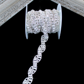 """3/4"""" SPARKLING ROPE OF RHINESTONE CHAIN-3 YDS (Silver)"""