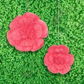 "12"",16"" TISSUE SCALLOP FLOWERS-2 PCS/SET (Fuchsia)"