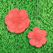 """12"""",16"""" TISSUE SCALLOP FLOWERS-2 PCS/SET (Coral)"""