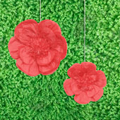 """12"""",16"""" TISSUE SCALLOP FLOWERS-2 PCS/SET (Red)"""