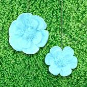 """12"""",16"""" TISSUE SCALLOP FLOWERS-2 PCS/SET (Blue)"""
