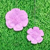 """12"""",16"""" TISSUE SCALLOP FLOWERS-2 PCS/SET (Lavender)"""