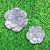 "12"",16"" METALLIC TISSUE SCALLOP FLOWERS-2 PCS/SET (Silver)"