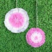 """12"""",16"""" TISSUE STARBURST FLOWERS-2 PCS/SET (Pink)"""