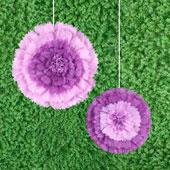 "12"",16"" TISSUE STARBURST FLOWERS-2 PCS/SET (Purple)"
