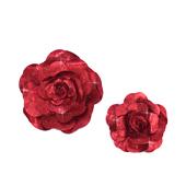 "12"",16"" DECORATIVE METALLIC WALL FLOWERS-2 PCS/SET (Metallic Red)"
