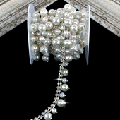 """3/4"""" DUAL SIZE HANGING PEARL RHINESTONE CHAIN-3 YDS (Silver)"""
