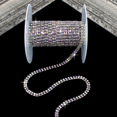 """3/16"""" TWO ROW SMALL RHINESTONE CHAIN-5 YDS (Iridescent Silver)"""