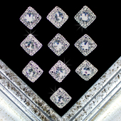 "7/8"" RETRO SQUARE RHINESTONE ACCESSORIES-10 PCS (Silver)"