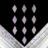 "1 1/4"" DIAMOND SHAPE RHINESTONE ACCESSORIES-10 PCS (Silver)"