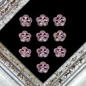 "7/8"" CHERRY BLOSSOM RHINESTONE ACCESSORIES-10 PCS (Pink/Gold)"