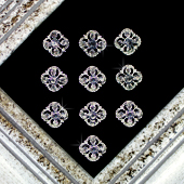 "3/4"" ROUNDED SQUARE RHINESTONE ACCESSORIES-10 PCS (Silver)"