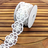 "2 1/4"" DOUBLE LAYER FLOWER W/PEARL CENTER LACE TRIM-3 YDS (White)"
