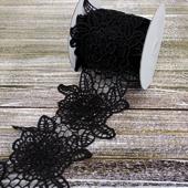 "5 1/4"" OPENWORK CHIC FLOWER LACE-5 YDS (Black)"