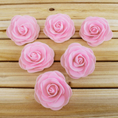 "3 1/2"" DECORATIVE FOAM FLOWERS-6 PCS (Light Pink)"