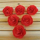 "3 1/2"" DECORATIVE FOAM FLOWERS-6 PCS (Red)"